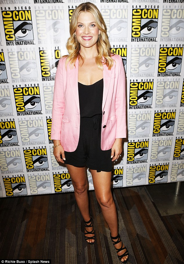 Excellent touch: Ali's pink jacket featured black buttons that blended in well with the rest of her outfit