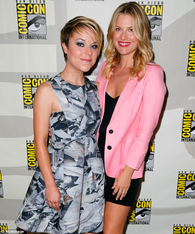 Feminine and fabulous: While Ali shone in her pink-and-black ensemble, Tina Majorino captivated in an artsy grey and white patterned frock