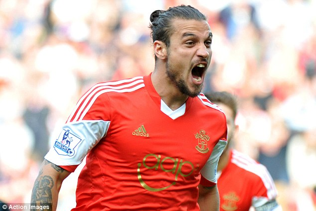 Bad boy: Inter Milan are keen on signing Dani Osvaldo who joined the Saints from Roma last summer