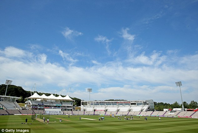Preparation: England practiced at the Ageas Bowl ahead of the crucial third Test against India