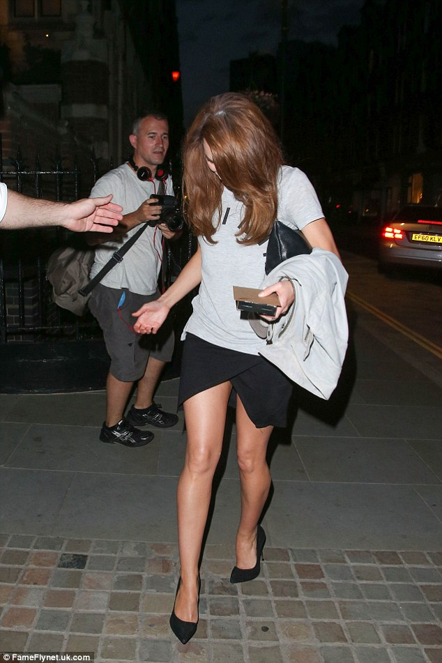 Why so shy? The Essex babe kept her head down as she arrived at the popular Chiltern Firehouse on Saturday night
