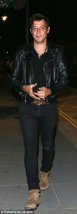 Saturday night fever: Kate Moss' husband Jamie Hince opted to spend his Saturday night at Chiltern Firehouse in London
