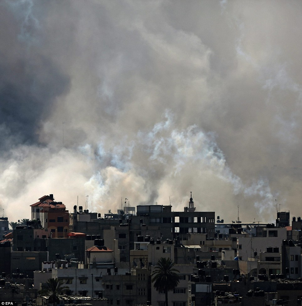 Apocalyptic: The conflict has claimed at least 1,060 Palestinian lives, a toll which rose sharply after an estimated 150 bodies were pulled from rubble in the ceasefire