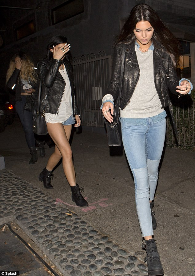 Casual look: Kendall, 18, wore a leather jacket, like her sister, and blue skinny jeans while Kylie donned tiny Daisy Dukes, which wouldn't have offered much protection in the event of a crash
