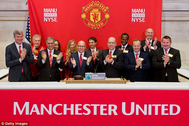 Floated: United's owners, the Glazer family, put a 10 per cent stake in the club on the New York Stock Exchange back in 2012