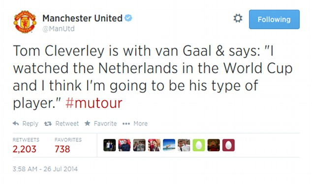 Scorn: This tweet on Manchester United's official feed was met with a torrent of negative responses