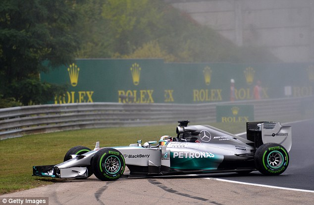 Spin: Lewis Hamilton left the track at Turn 2 of the first lap at the Hungaroring but was able to continue