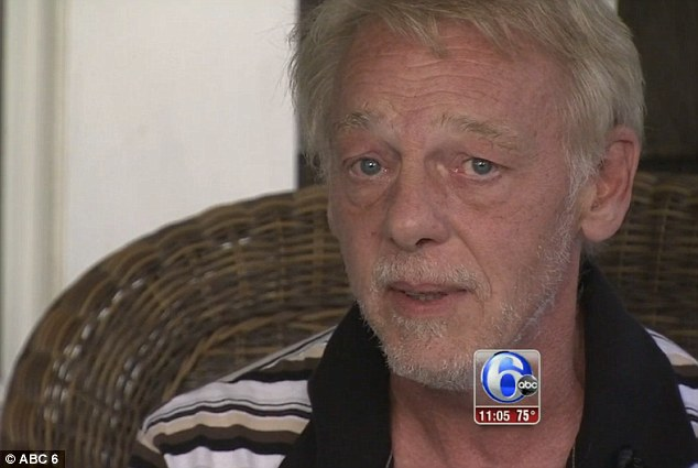 Tears: Dennis Hunt fought back his emotions as he tried to explain how he will feel and cope with the loss of his sister, Theresa, who was shot dead in Philadelphia on Thursday