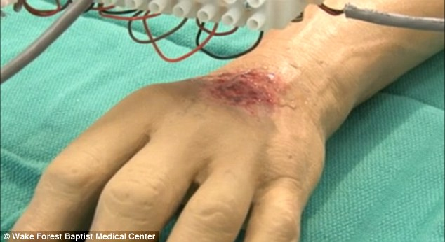 Second skin: The US Army has already begun using 3D printers to replicate soldier's wounds so that doctors can practice healing different types of war specific injuries