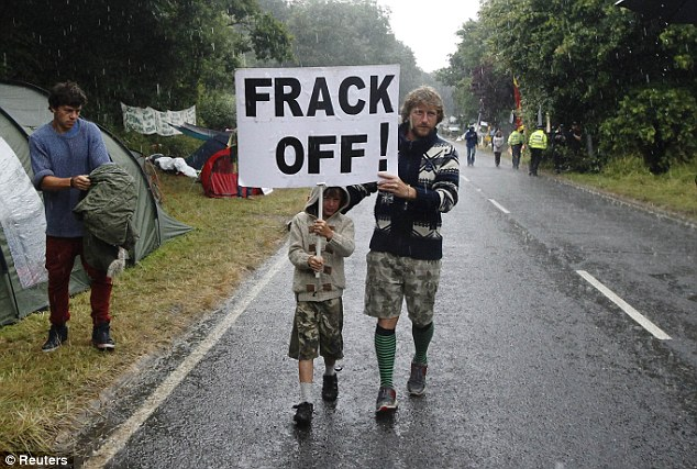 Unrest: Pressure groups have fought vociferously against fracking. Pictured above is a protest in Balcombe, West Sussex