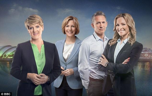 Headliners: BBC's lead presenters (from left) Clare Balding, Hazel Irvine, Gary Lineker and Gabby Logan