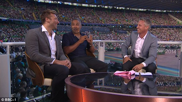Big guns: The BBC has brought out its A-team for Glasgow 2014, with Gary Lineker (right) leading the line with guests such as (from left) Ian Thorpe and Daley Thompson