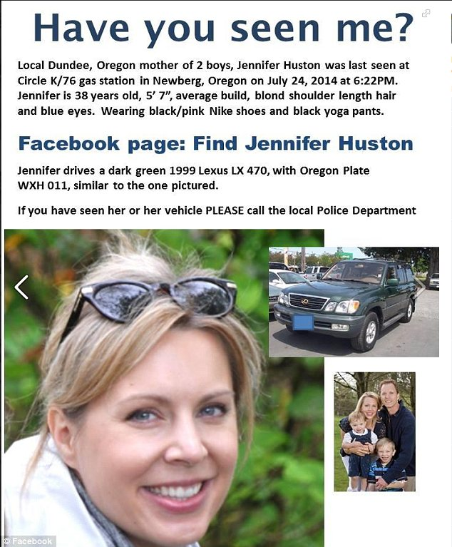 Mrs Huston's family had created a Facebook page to share photographs and information about her