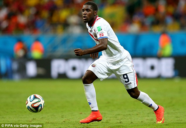 On the ball: West Ham have an interest in Joel Campbell, but so do Italian giants AC Milan