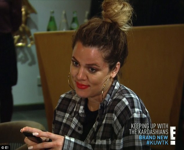 Stare down: Khloe stared icily at her sister Kim as they argued