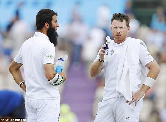 Ali stands with Ian Bell during England first innings at the Ageas Bowl in Southampton. Ali made 12 runs
