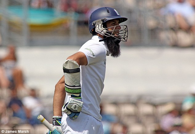 Not his day: Ali scored 12 runs towards England's first innings total