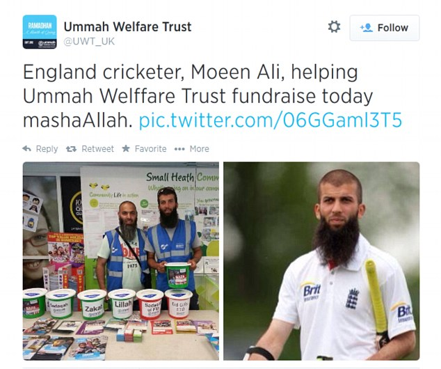 Fundraiser: Ali featured in a Twitter post by the Ummah Welfare Trust after he helped raise money for the people of Gaza in his home city of Birmingham
