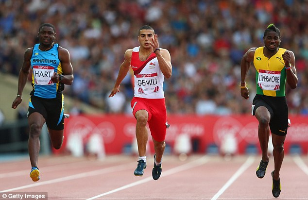 Out in front: England's Adam Gemili (centre) qualified for the men's 100m final with a time of 10.07secs