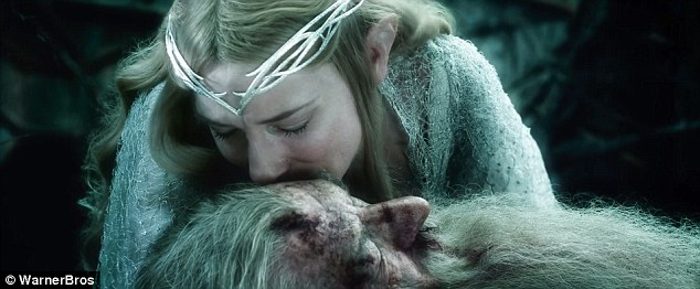 The elf and the wizard: Cate Blancjhett's Galadriel kisses a battle bruised Gandalf's forehead in the trailer