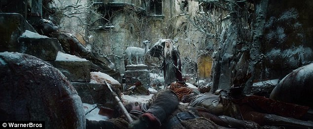 Setting the scene: The elven king Thranduil is involved in an icy battle
