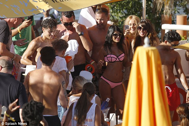Party animals: Jasmin Walia joins Joey Essex in Ibiza to celebrate his 24th birthday, on Tuesday afternoon