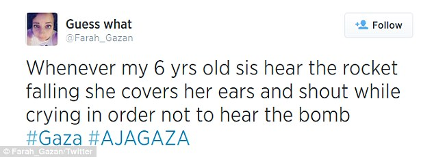 Farah described how her sister covers her ears to try and hide the sound of the bombs
