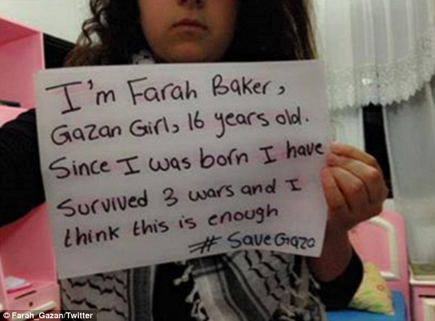 Under attack: Farah Baker lives opposite Gaza's Al-Shifa Hospital. She has survived three wars and is pleading for the latest one to stop