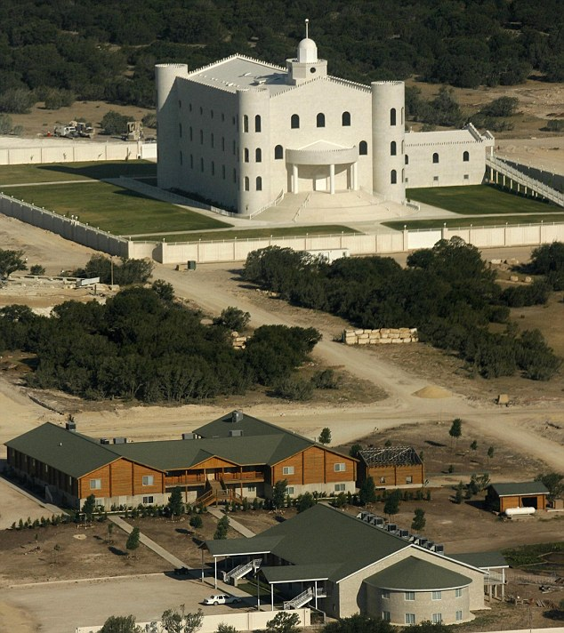 Previous base: Much of the FLDS' activity took place on the Yearning for Zion ranch (pictured), which is located just outside the town of Eldorado in Texas. A 2008 raid on the stronghold revealed the polygamous community which included pregnant child brides in pastel prairie dresses with elaborate braided hairdos
