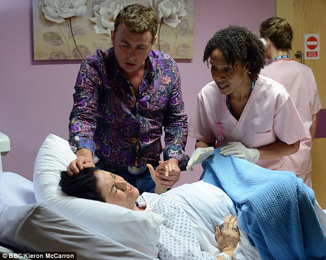 Birth pain: Kat goes into labour ahead of schedule while visiting Jean Slater in hospital - Alfie looks on anxiously