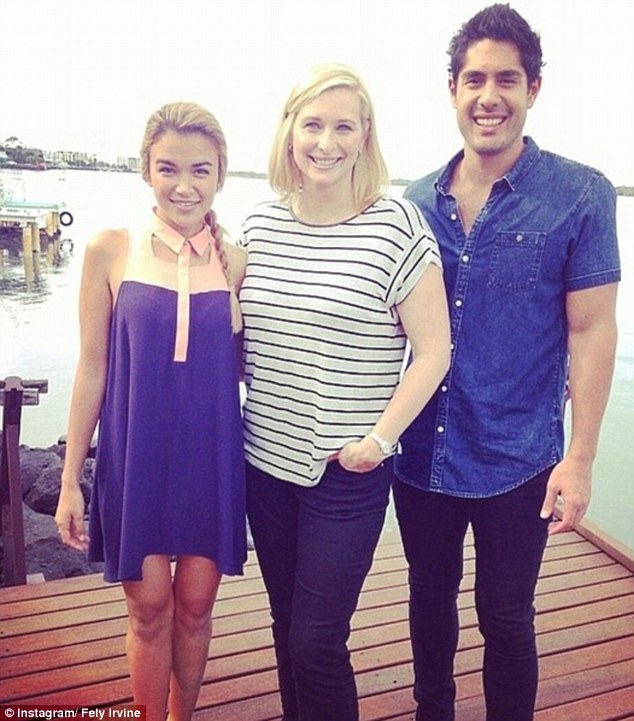 One of the family: The actor's girlfriend Fely Irvine (left) also joined the family in Ballina for the show's filming
