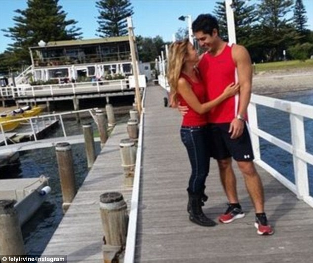 Matching: The singer went to the Home and Away set on Sunday to visit her beau and they ended up in matching outfits