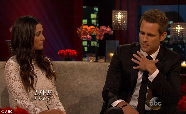 Not an easy talk: The brunette beauty on After The Final Rose on Monday with runner-up Nick Viall