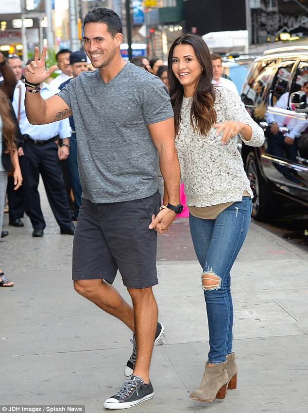 Before their appearance: The future Mr and Mrs Murray wore casual clothing after they flew in from Los Angeles to make the rounds on the chat shows in New York City