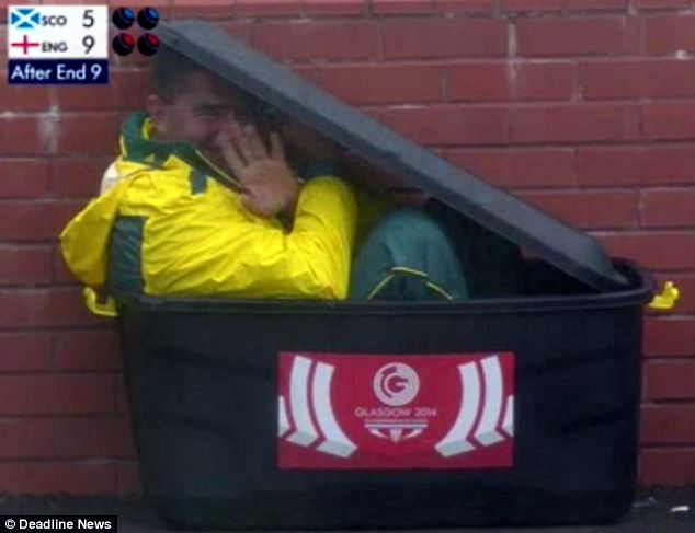 Twitter: The image of Kerkow peering out from inside the small bin was quickly shared across social media