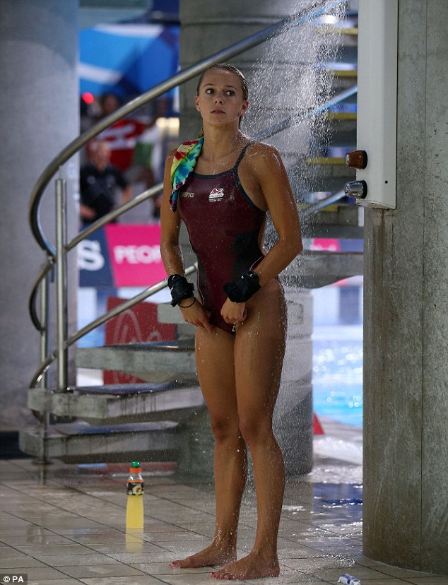 Cooling off: Couch showers after another successful dive during Wednesday's final