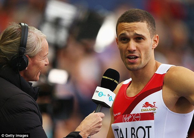 Talking it through: Talbot is interviewed after completing his speedy 200m run