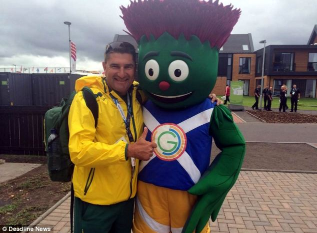 Mascot: Kerkow enjoying the Commonwealth Games atmosphere, he represents Australia at lawn bowls