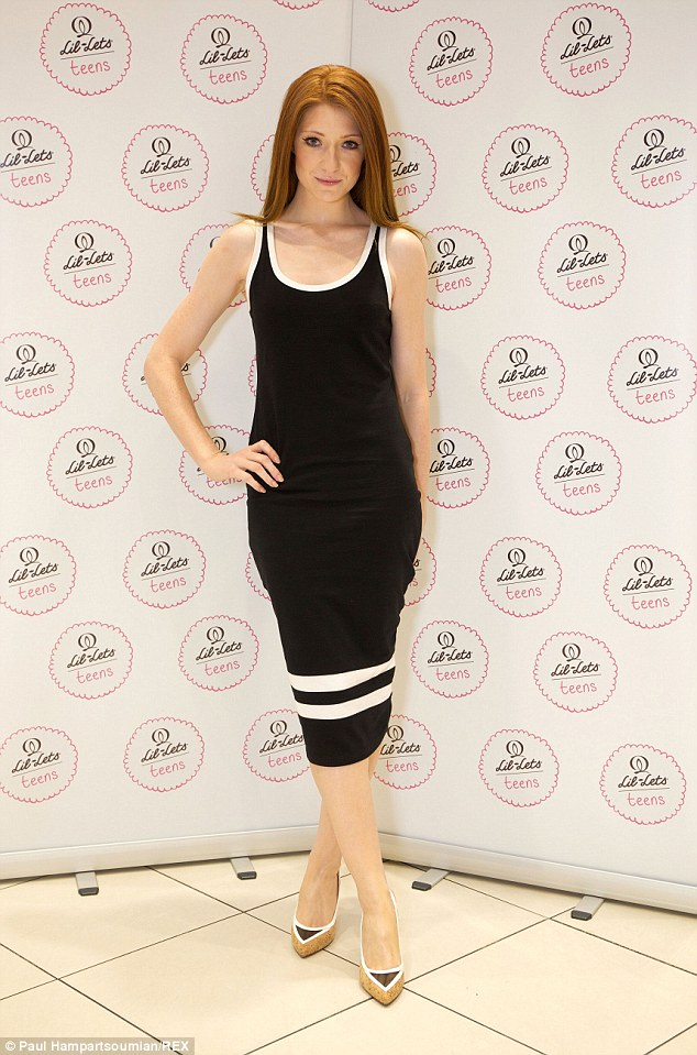 Confident: Nicola Roberts met with fans inside London's Westfield Superdrug store to launch her Lil-Lets competition