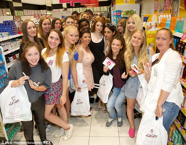 Girl group: Nicole took pictures with the girls as she launched a competition for Becoming A Teen with Lil-Lets