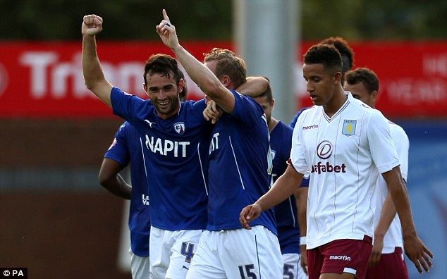 Ahead: Chesterfield's Sam Hird (left) celebrates scoring his sides second goal of the game