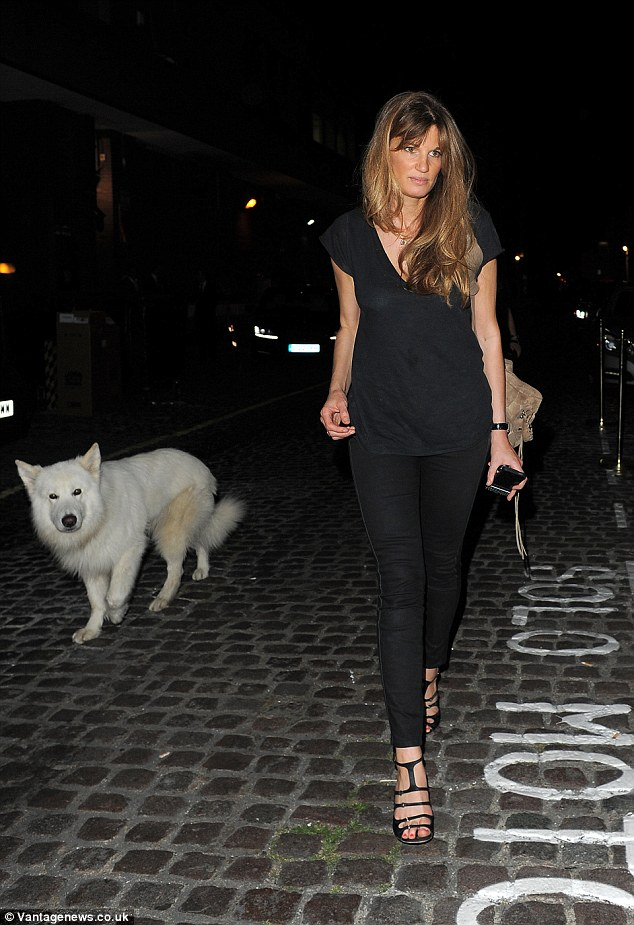 Where's Russell? Jemima Khan takes pet dog Brian with her to Chiltern Firehouse on Wednesday night
