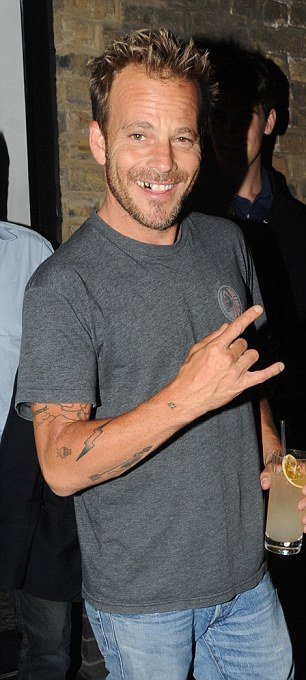 Rock on: Hollywood actor Stephen Dorff appeared to be in high spirits on Wednesday night in London