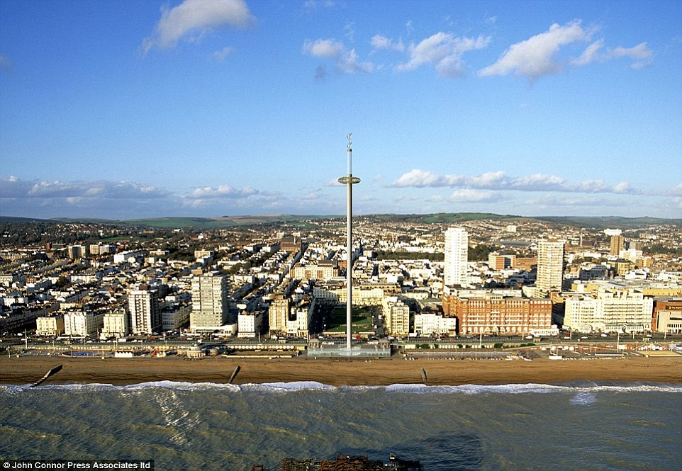Pod with a view: How the i360 tower will look when it is completed. The aim is to transform Brighton's seafront into the equivalent of London's South Bank