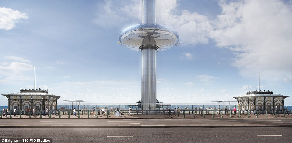 Head for heights: Brighton's i360 observation pod will be 59ft in diameter and hold up to 200 people at a time
