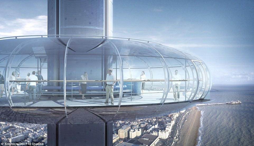 Unrivalled views: The Brighton i360 pod will hold up to 200 people and will offer 360 panorama with a curved glass design