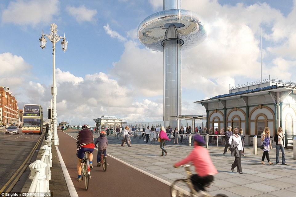 How it will look: It is predicted the Brighton i360 will generate up to £25m in revenue to the area's economy on an annual basis - attracting 700,000 tourists