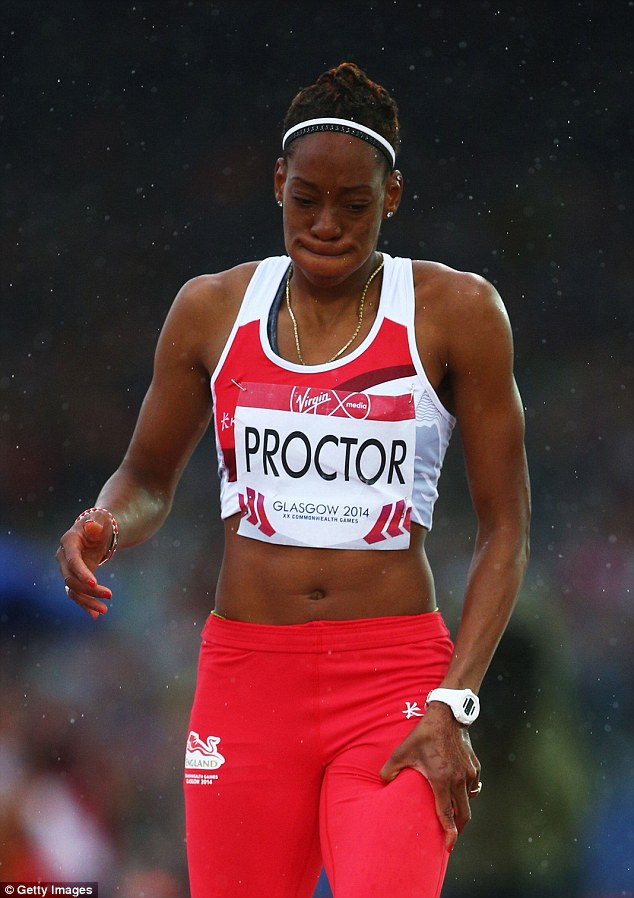Despair: England's Proctor did not even register a jump before she pulled out with a suspected thigh injury