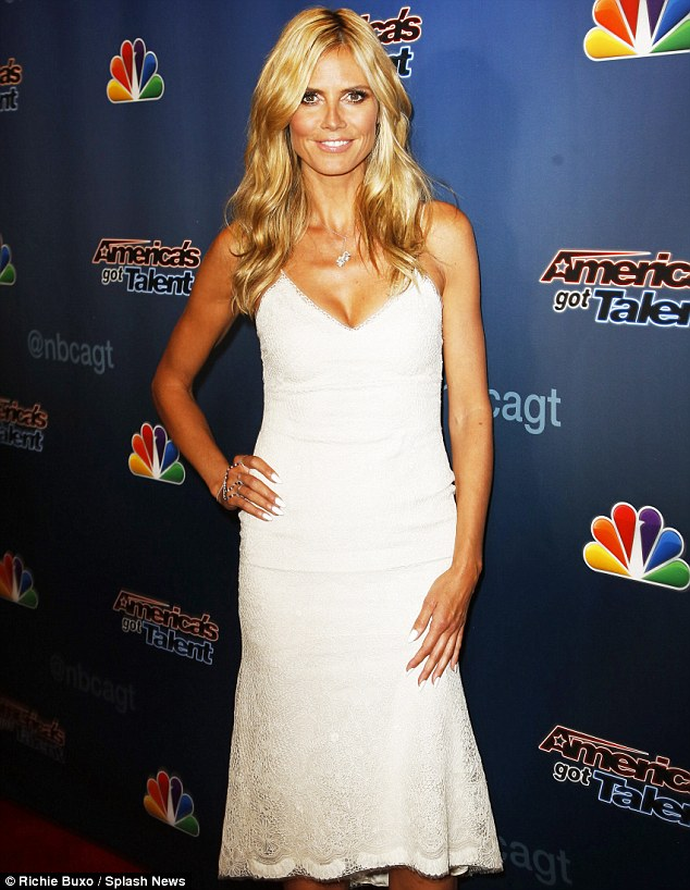 Angelic: Heidi chose a lacy white dress and matching nails