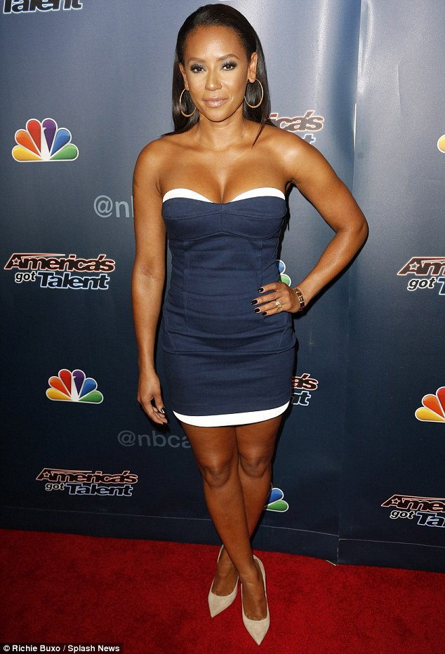 Simple: Mel B paired her strapless number with hoop earrings and nude pumps